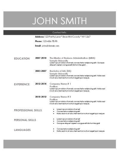 Printable Resume Template 10 Best Modern Resume Templates Images On Pinterest  Modern