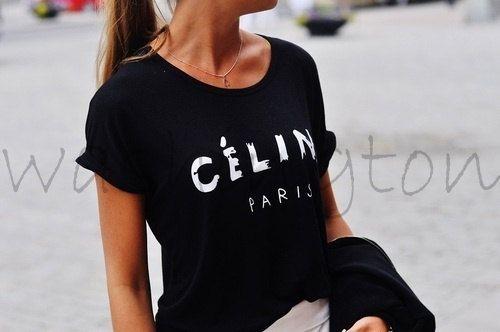 Black Celine tshirt celine paris rolled sleeves  a fashion must have rihanna tour comme hype geek tee shirt