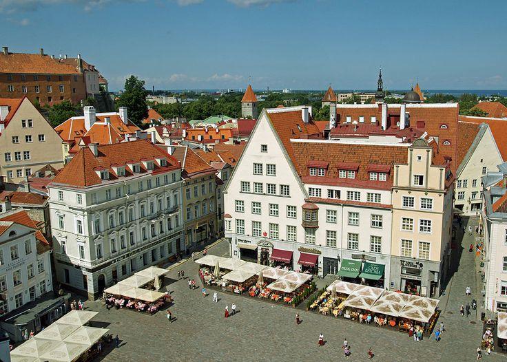 The Town Hall Square (Raekoja plats) in Tallinn, Estonia.