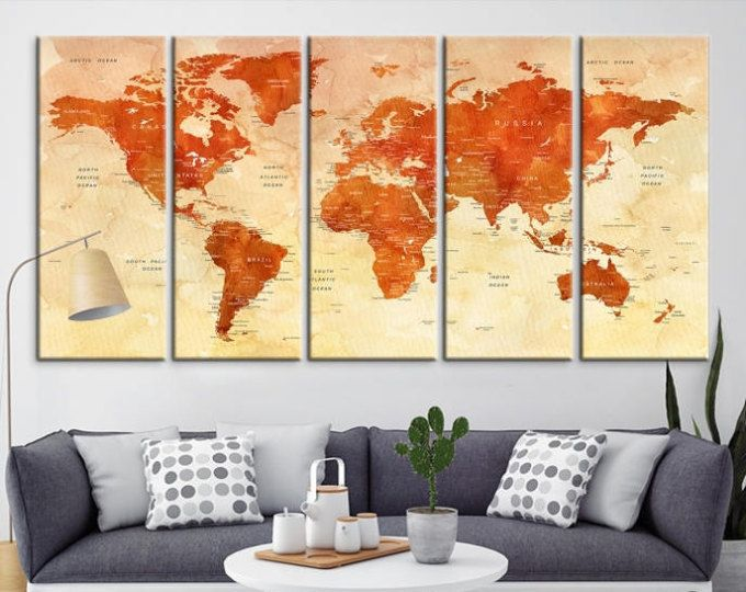 The 140 best Push Pin World Map Travel Canvas Prints images on ...