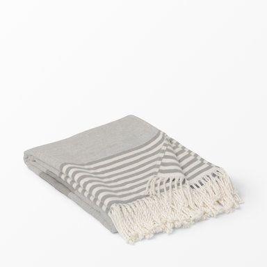 Pläd randig, 130x170 cm, grå