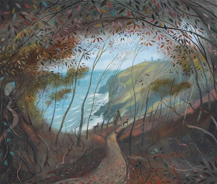 NICHOLAS HELY HUTCHINSON  Through the Trees to Anvil Point Oil on board 12 x 14 ins
