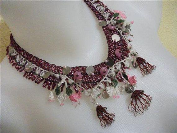 Burgundy Beadwork and Turkish Lace Oya Necklace by neduk on Etsy, $30.00