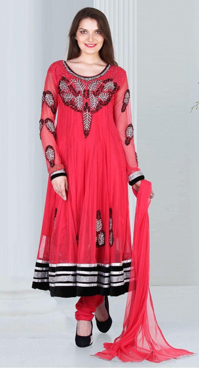 Pink color Long Length Anarkali-Net #Salwar #Kameez