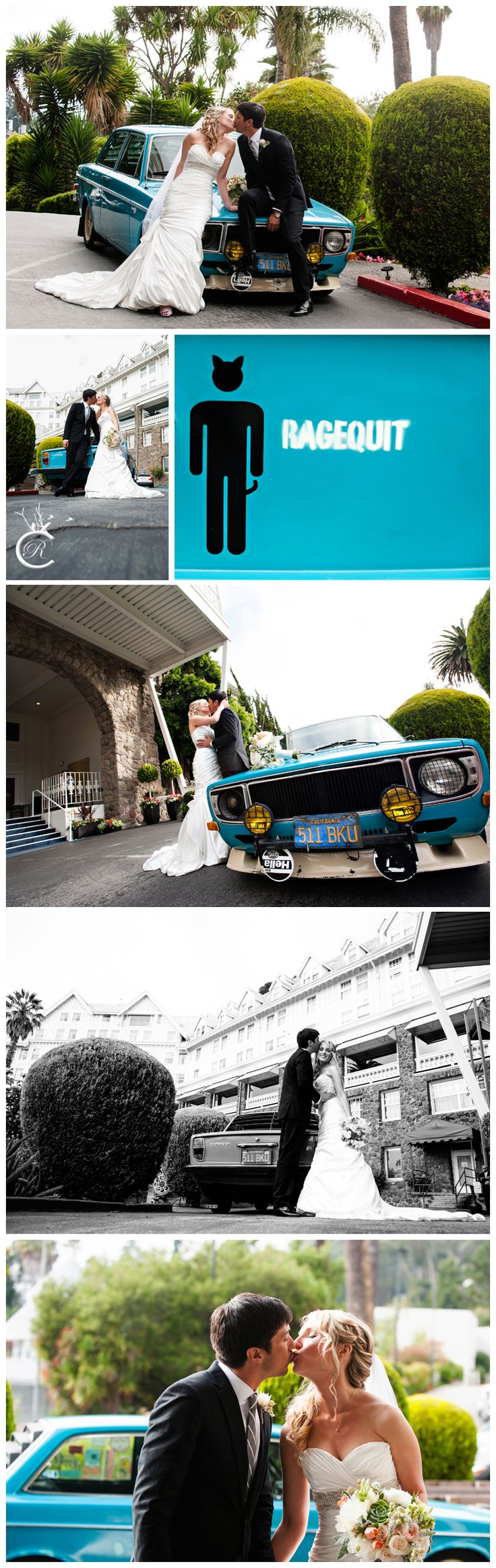 Wedding Photos at the Claremont Hotel & Spa • Claremont Hotel and Spa Wedding Photos • Wedding Photos with a 1971 Volvo 142 • Carrie Richards Photography • 1971 Volvo • CarrieRichards.com • 1971 Volvo 142 • Cool Wedding Car Photos • claremont hotel club and spa wedding