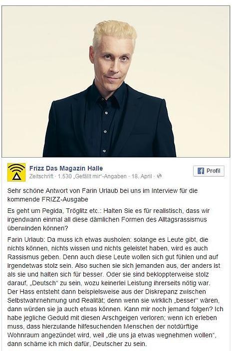 Das Frizz-Magazin postete Farin Urlaubs eindeutige Antwort auf Facebook