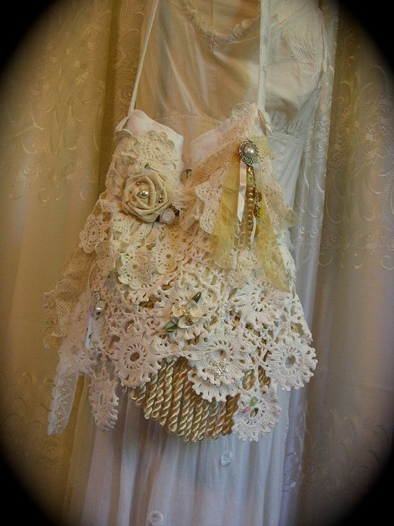 Shabby Cottage Purse vintage crocheted doilies and vintage lace remnants, handmade by Dede of  TatteredDelicates