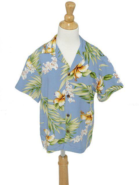 [Exclusive] Tuberose Blue Rayon Boys Hawaiian Shirt