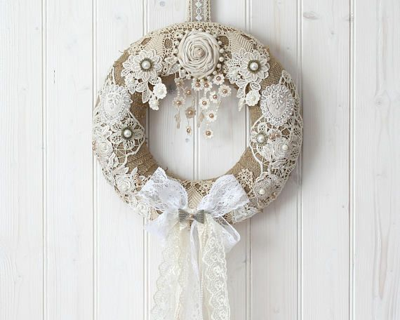 Burlap Door Wreath, Year Round Wreath, Burlap And Lace, Burlap Hanger, Romantic Home Decor, Wedding Door Wreath, Burlap Home Decor, Wreath
