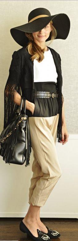 Olivia Palermo: Jumpsuit – Tibi  Sweater – Topshop  Shoes – Giorgio Armani  Belt – BCBG  Hat – Reiss  Purse – CH Carolina Herrera
