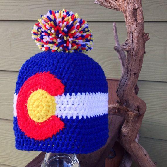 State Flag of Colorado Pom Pom Beanie by hookandhoot on Etsy, $19.00