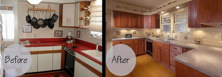 Kitchen cabinet refacing before and after with granite countertops