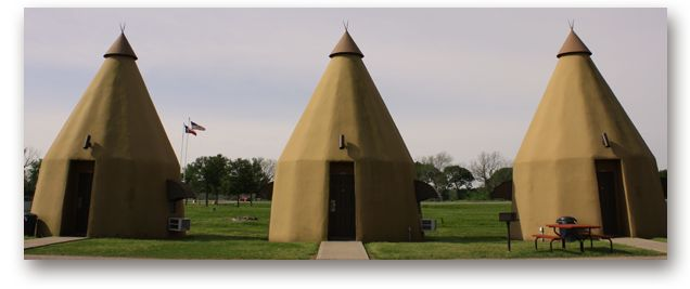 The Teepee Motel is located just outside the quaint little town of Wharton, Texas, just off Highway 59.