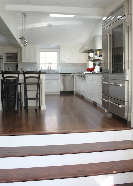 #step down from kitchen into family room #hardwood #floor