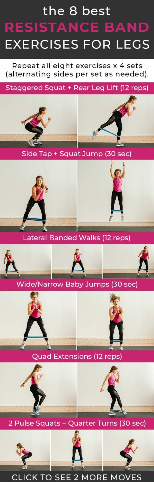 20 BEST Resistance Band Exercises for Legs Video   Nourish Move ...