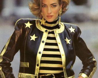 Escada by Margaretha Ley vintage iconic leather jacket with gold stars -    Edit Listing  - Etsy