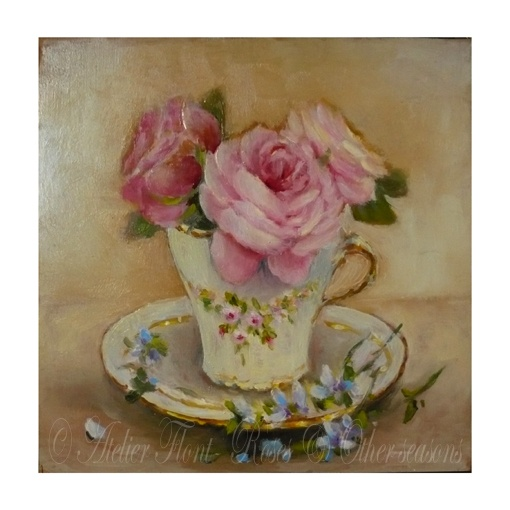 Royal albert roses & tea cup -Original Oil painting © Atelier Flont- Roses & Other seasons  -