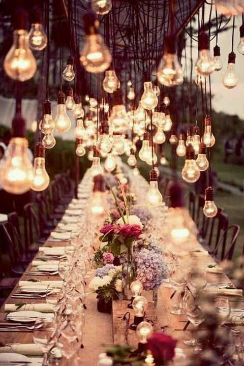 Edison bulb wedding decor. See the post at http://tulleandtwine.com/2013/11/13/edison-bulb-decor. Always adored this idea