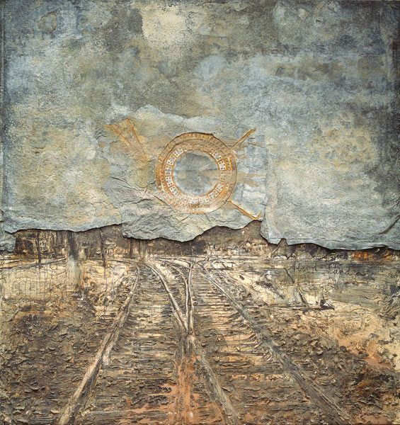 Anselm Kiefer Abendland (Twilight of the West) 1989 lead sheet, synthetic polymer paint, ash, plaster, cement, earth, varnish on canvas and wood
