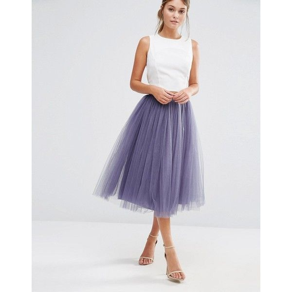 Little Mistress Tulle Midi Skirt (445 DKK) ❤ liked on Polyvore featuring skirts, grey, grey tulle skirt, midi skirt, zipper skirt, calf length skirts and gray midi skirt