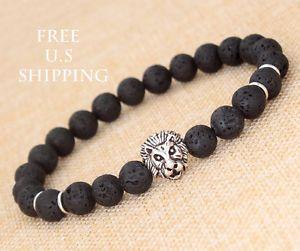 "8 mm Beads Men's Lava Rock Silver Lion Head Beaded Yoga Chakra Bracelet 8"" B37 | eBay"