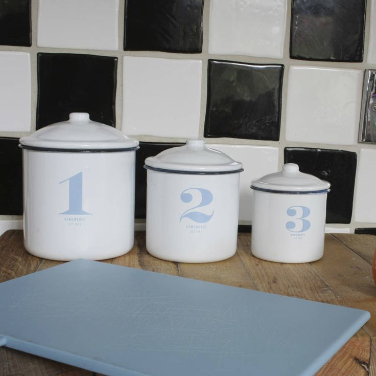 Set Of Three Retro Style Enamel Storage Jars