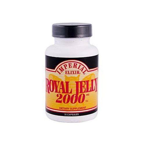 Imperial Elixir Royal Jelly 2000 - 2000 mg - 30 Capsules. Imperial Elixir Royal Jelly 2000 Description:  Dietary Supplement Royal Jelly is one the world's most complete concentrated natural food sources for amino acids, vitamins (especially B5) and live enzymes. Imperial Elixir contains fresh Royal Jelly which is freeze-dried into powder, thus concentrating and preserving it. Connoisseurs know that Royal Jelly 2000 is one of the most potent encapsulated Royal Jelly products available…