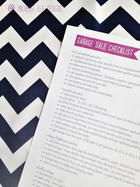 michelle lea designs: Garage Sale Checklist