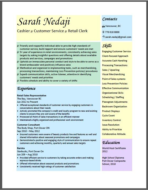 9 best sample resume images on Pinterest Resume examples, Sample - retail resume