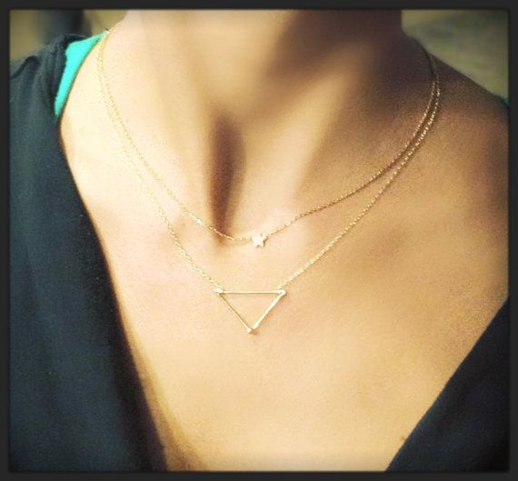 Dainty Hipster Triangle Necklace  14k Gold Sterling by lovedainty, $22.00- in Rose- Gold. Layer this triangle necklace with a shorter tiny cross~D