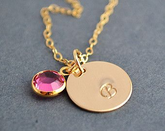 Gold Disc Necklace, Initial Disc Necklace with Birthstone, Personalized Gold Necklace, Birthstone Charm Necklace by malizbijoux. Explore more products on http://malizbijoux.etsy.com