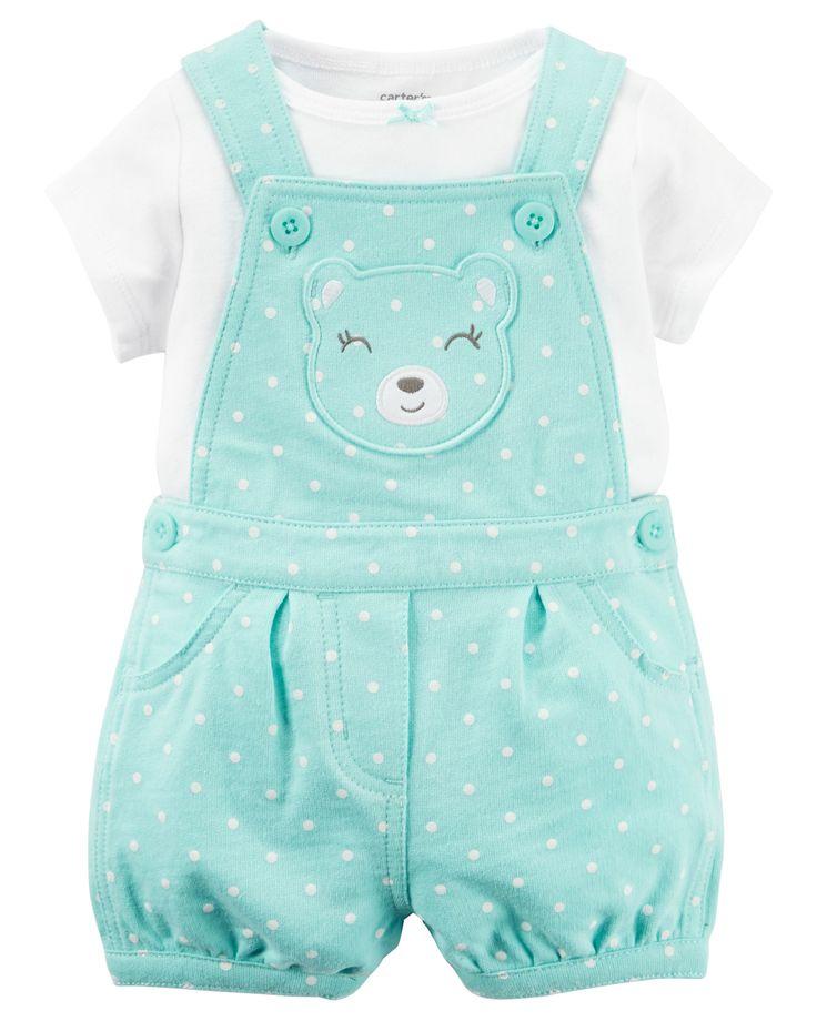 Baby Girl 2-Piece Tee & Shortalls Set | Carters.com