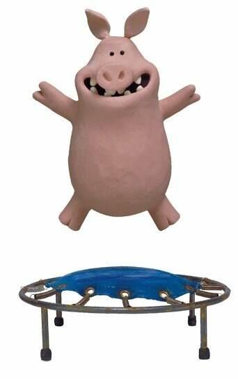 Pig on trampoline