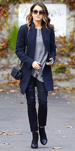 Distressed denim chic from  Nikki in a fitted navy AllSaints coat.
