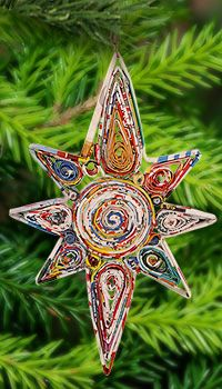 Recycled Magazine Guiding Star Ornament at The Breast Cancer Site                                                                                                                                                                                 Más