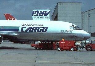 Air New Zealand DC-8 freighter on turnaround