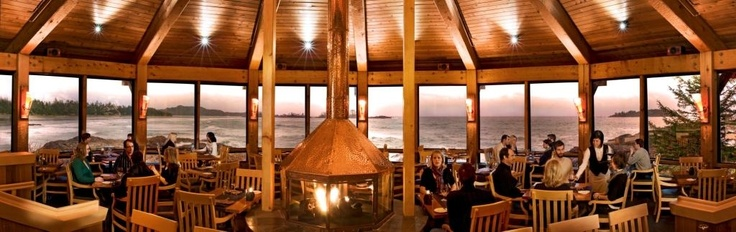 The warm, inviting atmosphere of the Pointe Restaurant.  This experience is a must if travelling to Tofino!