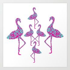 Fancy Flamingos Giclée art print by Kerise Delcoure. Inspired by 1980s pink plastic flamingo lawn ornaments, this design is delightfully tacky with a touch of Floridian class. Available at https://society6.com/kerisedelcoure and https://www.redbubble.com/people/kerisedelcoure.