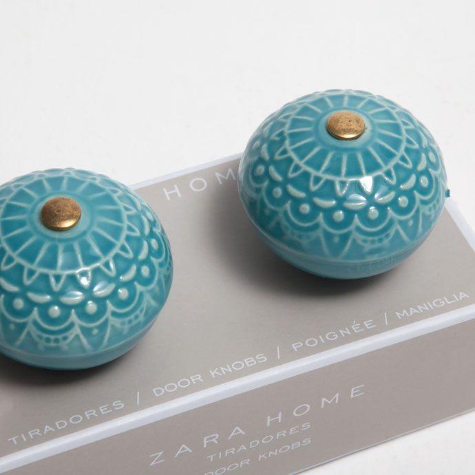 Tirador cer mica azul set de 2 tiradores decoraci n - Tiradores decorativos ...