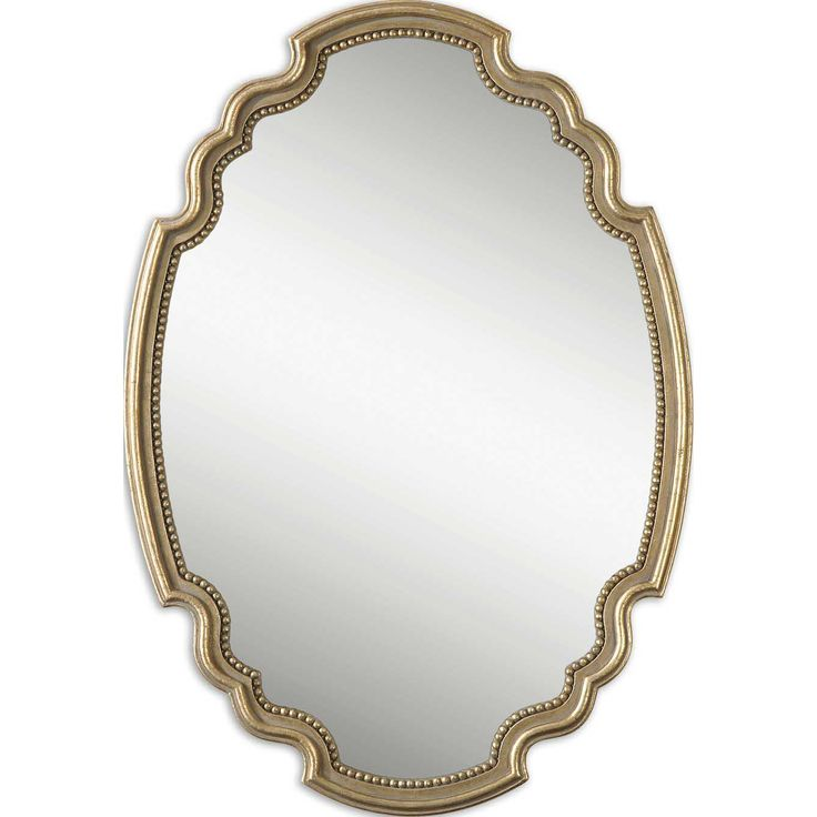 Terelle Wall Mirror Features A Decorative Oval Shape With Delicate Beading Detail Around Inner Edge Frame Is Finished In Lightly Antiqued Gold Leaf