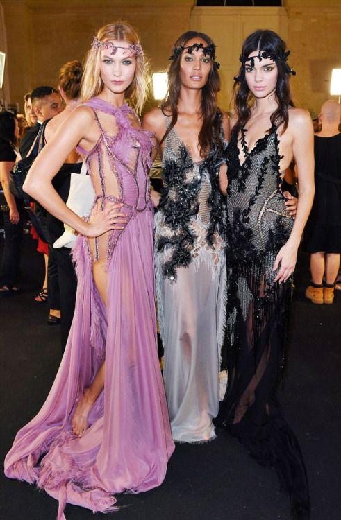 runwayandbeauty:  Karlie Kloss, Joan Smalls & Kendall Jenner - Backstage at Atelier Versace Fall 2015-16 Couture.