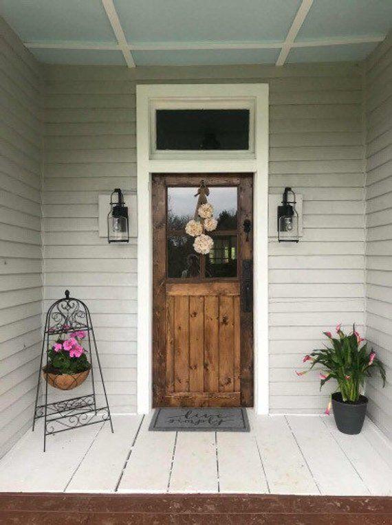 Half Lite Four Window Pane Farmhouse Entry Door Front Door Etsy Entry Doors Farmhouse Entry Front Door