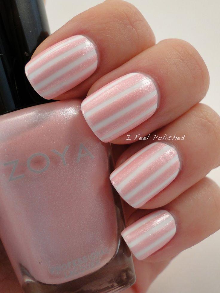 White and Pink Striped Nails - DIY NAIL ART DESIGNS