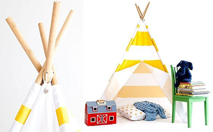 Kids Accessories. Beautiful Yellow and White Kids' Teepee Tent for Playroom: Wonderful Yellow White Teepee Tent For Kids ~ Furnikidz.com | Best Children Furniture Design