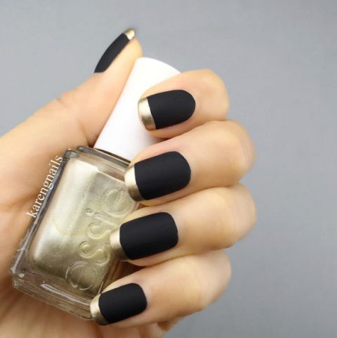 23 Fall Nail Designs You're Going to Fall In Love With: MATTE: The gold tips make this matte design pop.  See more at Karen G. Nails.