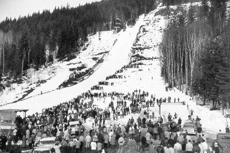 Mount Revelstoke Ski Jump 1950′s – Photo courtesy Revelstoke Museum and Archives.