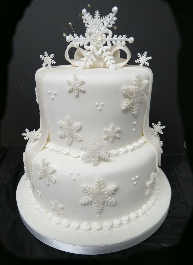 A 2 tier Snowflake Wedding Cake