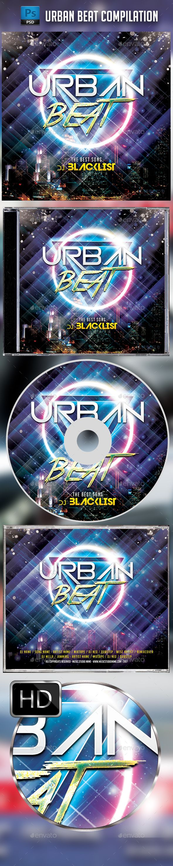 Urban Beat CD Cover Template - #CD & DVD #Artwork Print Templates Download here: https://graphicriver.net/item/urban-beat-cd-cover-template/19689745?ref=alena994