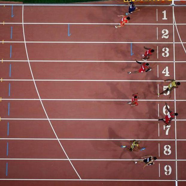 L'arrivo della finale dei 100m maschili dall'alto