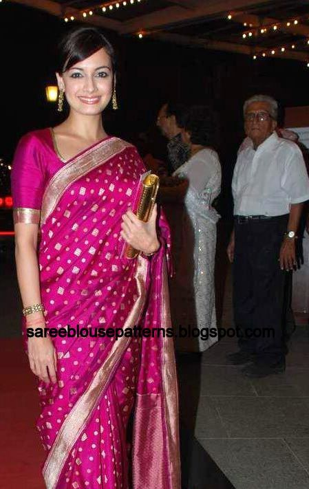 Saree Blouse Patterns: Dia Mirza In Pink Designer Saree